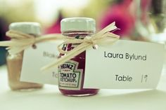 Yes, we love candy, koozies, and potted succulents as much as the next wedding fanatic, but sometimes you just need to think outside of the box. Here are a few wedding favor ideas that truly break the mold.  Condiments and Spices  Olive oil is a popular wedding favor these days, but if there's a condiment that you and your spouse love, share it with your guests! We've seen ketchup, mustard, Tabasco, as well as various seasonings (Old Bay, BBQ rubs, etc.).    Photo b...