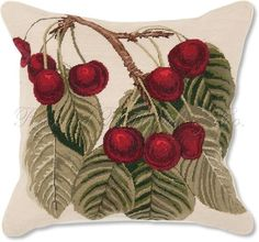 Cherries Fruit Decorative Needlepoint Throw Pillow | eBay