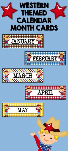 WESTERN COWBOY THEMED MONTHS WITH GINGHAM AND STRIPES