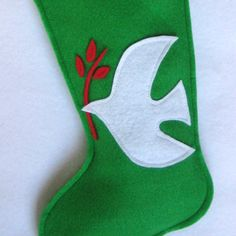 Christmas Stocking Peace Dove in Green Eco by stitcholicious, $17.00