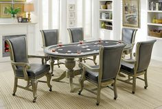 CM-GM367GY 7 pc melina gray finish wood contemporary style oval poker game/ dining table set Table And Chairs, A Table, Dining Chairs, Dining Table, Arm Chairs, Dining Rooms, Contemporary Style, Furniture Sets