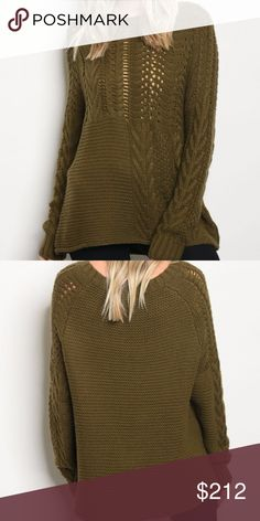 OLIVE GREEN KNIT SWEATER NEW!!   Lovely olive green Long sleeve knit sweater top featuring a rounded neckline. soft and comfy  65% ACRYLIC 20% POLYESTER 15% NYLON . Sweaters Crew & Scoop Necks