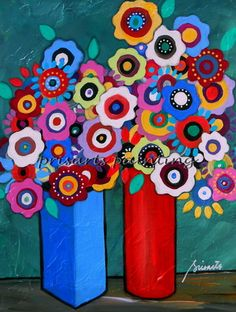 Great Collective gift ideas; whimsical flower painting, still-life, ideas, design, room design, shabby chic, prisarts flowers, mexican, healing gift, cool art, pristine cartera turkus original painting, modern, abstract, folk art, colorful, sale!