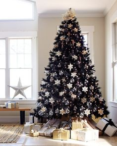 Style, substance, and sophistication — the Tuxedo Black Christmas Tree has it all. Some day black Christmas Tree . you will be mine, TOO! Black Christmas Tree Decorations, Christmas Tree Sale, Elegant Christmas Decor, Creative Christmas Trees, Black Christmas Trees, Snowflake Decorations, Noel Christmas, Christmas 2019, Christmas Tree Colour Scheme