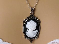 Black Bridesmaid Jewelry Cameo Necklace Black by martywhitedesigns
