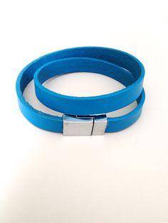 Light Blue Leather Bracelet with Magnet Clasp by LittleGemsByLuisa