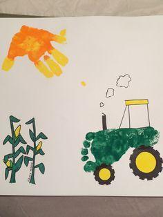 Footprint tractor with handprint sun (and hand drawn corn stalks)