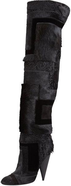 TOM FORD Black Geometric Patchwork Fur Overtheknee Boot - Lyst