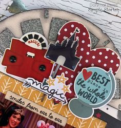 Project Ideas for Simple Stories - Say Cheese III Collection - 12 x 12 Collection Kit Vacation Scrapbook, Disney Scrapbook Pages, Scrapbook Albums, Scrapbook Borders, Scrapbook Layout Sketches, Scrapbooking Layouts, Disney Diy, Disney Crafts, Disney Ideas