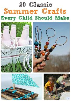 20 Classic Summer Crafts - oh this is such a fab list of Summer Camp Crafts - whether you are having a staycation or going away, check out some of these fabulous Summer DIYs for kids !! Love. Summer holiday activities sorted.