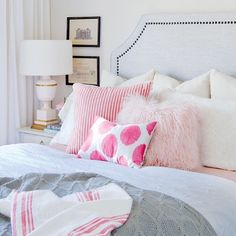 Stay in your stylish guest #bedroom, @jillian.harris? We'd love to! The perfect combination of pink, grey and cream gives this space its pretty, feminine look. LIKE? Tour the rest of Jillian's gorgeous home, visit styleathome.com! {Photo: @pineconecamp} #decorcrush
