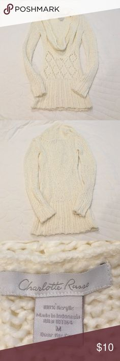 Charlotte Russe sweater Charlotte Russe sweater. Deep cowl neck. Crochet pattern. Like new. 100% acrylic. Hand wash cold. 26.5 inch sleeves. 19 inch bust. 25.5 inches long. No trades. Make an offer. Charlotte Russe Sweaters Cowl & Turtlenecks