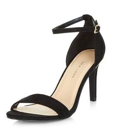 Wide Fit Black Suedette Metal Trim Ankle Strap Heels