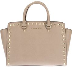 Michael By Michael Kors Brown Selma Studded Satchel. OMG SWOON, This bag is gorgeous :)