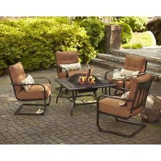 Hampton Bay | Marywood 5 Piece Firepit Chat Set | Home Depot Canada
