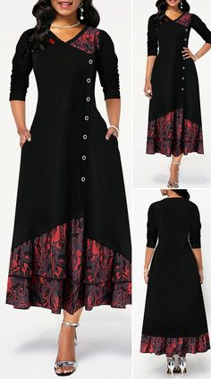 V Neck Button Detail Printed Dress HOT SALES beautiful dresses, pretty dresses, holiday fashion, Beautiful Dress Designs, Stylish Dress Designs, Designs For Dresses, Stylish Dresses, Elegant Dresses, Pretty Dresses, Casual Dresses, Beautiful Dresses, Beautiful Clothes