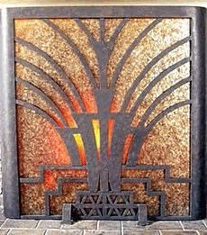 Gorgeous antique Art Deco fireplace screen made of mica