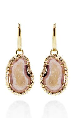 One Of A Kind Neutral Geode And Diamond Gold Hook Earrings by Kimberly McDonald for Preorder on Moda Operandi