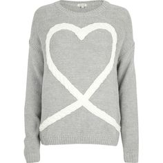 River Island Grey cable heart jumper ($53) ❤ liked on Polyvore featuring tops, sweaters, shirts, jumpers, grey long sleeve shirt, gray long sleeve shirt, gray shirt, heart shirt and cable sweater