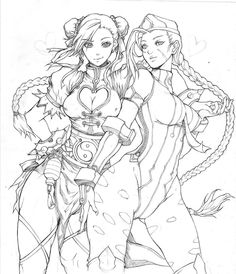 Chunli and Cammy (lineart) by KenshjnPark deviantart