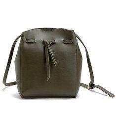 3836ac788dc5 Women Messenger Crossbody Tassel String Faux-Leather Bag with Bucket Design