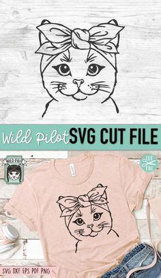 Plotter Silhouette Portrait, Silhouette Files, Image Svg, Cricut Svg Files Free, Animated Gifs, Cat Bandana, Animal Faces, Svg Cuts, Cricut Design