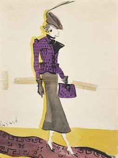 CHRISTIAN BÉRARD (1902-1949) Elégante à la veste violette signé 'Bérard' (en bas à gauche) encre et aquarelle sur papie