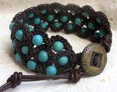 Boho Chic Cuff Bracelet, Southwestern turquoise, rustic brown,