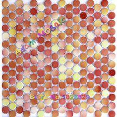Penny ronde mozaïek tegel rood haard muur yellowe tegels keramische voor…