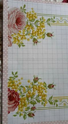 This Pin was discovered by Dil Cross Stitch Rose, Cross Stitch Borders, Cross Stitch Flowers, Cross Stitching, Cross Stitch Embroidery, Hand Embroidery, Cross Stitch Patterns, Border Pattern, Stitch Kit