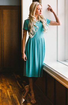 "Stunning Sea Green for Summer! ""Winslow"" Modest Dress in Sea Green (Turquoise)"