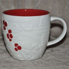 Starbucks Mug Embossed Holly & Berries White & Red 2010 16 ounce