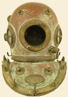 Antiques Self-Conscious Antique Beautiful Copper Diving Divers Helmet Silver Brass Mini Diving Helmet