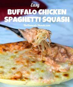 Buffalo Chicken Spaghetti Squash | thedomesticblonde.com