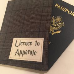 Passport Cover, luggage tag set Harry Potter inspired Licence to Apparate passport case