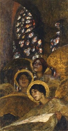 """Concert of Angels, 1897 Edgar Maxence French """"Who, if I cried out, would hear me among the angels' hierarchies? And even if one of them pressed me against his heart: I would be consumed. Art Inspo, Angel Images, Art Hub, Angel Art, Gustav Klimt, Sacred Art, Christian Art, Religious Art, Art And Illustration"""