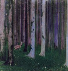Constantine Parthenis-Deer in the dense forest Post Impressionism, Impressionist Paintings, Pablo Picasso, Art Projects, Moose Art, Perfume, Nature, Trees, Painters