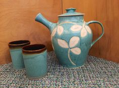 Beautiful teals and brown clay teapot and cups.  Generous size, handcrafted.  Found at Nan Gunnett & Co in Hummelstown, PA.