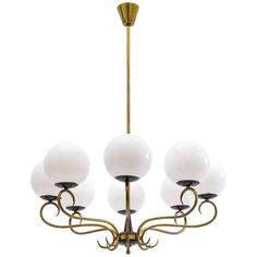 1940s Italian Eight-Arm Brass and Glass Chandelier For Sale