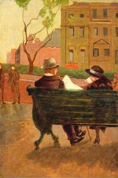 Malcolm Drummond - The Park Bench, 1910 People Reading, Impressionist Artists, Sense Of Place, Post Impressionism, Art Uk, Art Themes, City Art, Your Paintings, Pattern Wallpaper