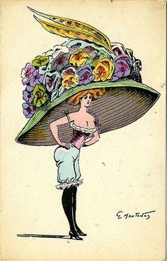 French fashion postcard, ca. 1900s