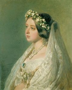 Birthday May This portrait shows Queen Victoria in wedding veil by Franz Xaver Winterhalter (Royal collection). Her white wedding dress established the style of white wedding dresses we still have today. Queen Victoria Wedding Dress, Queen Victoria Family, Queen Victoria Prince Albert, Victoria And Albert, Queen Victoria Young, Queen Elizabeth Wedding, Franz Xaver Winterhalter, Royal Brides, Royal Weddings