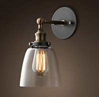 20th C. Factory Filament Clear Glass Cloche Sconce - RH's 20th C. Factory Filament Clear Glass Cloche Sconce:Evoking early-20th-century industrial lighting, our reproductions of vintage fixtures retain the classic lines and exposed hardware of the originals.