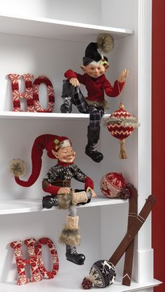 Whimsical Elves from the 2013 RAZ Aspen Sweater Collection ...all dressed up in boots and sweaters. Elves are wired so you can fashion them into all sorts of positions....see the Blog post at Trendy Tree for more decorating ideas from the RAZ Aspen Sweater Collection http://www.trendytree.com/blog/raz-aspen-sweater-collection-decorating-ideas/