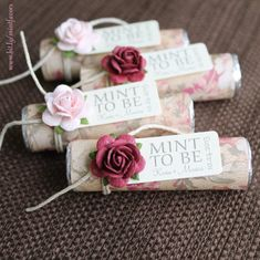 """Mint wedding Favors - Set of 100 mint rolls - """"Mint to be"""" favors with personalized tag - pink, blush, burgundy, floral, chic"""