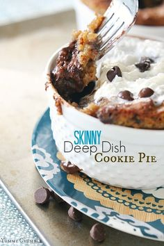 This Skinny Deep Dish Cookie Pie packs tons of flavor, so dont let the name fool you!  With no flour, no eggs, and no butter you can indulge without all the guilt.  Grab a glass of milk, because its super rich! www.yummycrumble.com