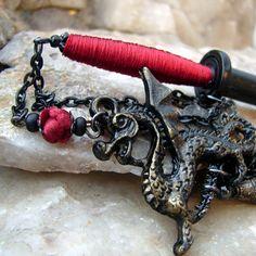 Haar-Schwert  Haar Stick schwarz mit Purpur roter von Hairjems