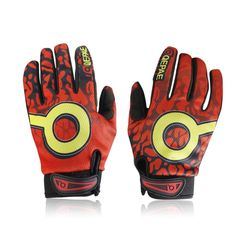 [$5.12] Qepae Cycling Bicycle Full Long Finger Gel Silicone Gloves, Size: M(Red)