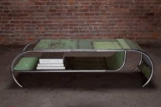 Coffee table made with scraps of sheet metal from industrial lockers.