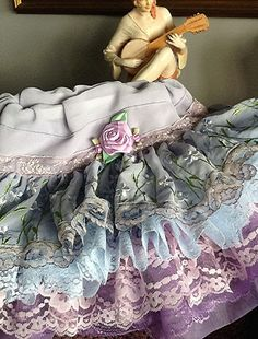 Vintage Ruffled Lace Lavender and Blue toddler flower girl  Skirt, The AMY by Rosanna Hope for Babybonbons